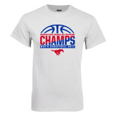 White T Shirt-2017 AAC Regular Season Champs - Mens Basketball Half Ball