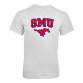 White T Shirt-SMU w/Mustang