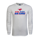 White Long Sleeve T Shirt-Go Red Go Blue Go SMU