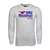 White Long Sleeve T Shirt-Stacked SMU Mustangs Design