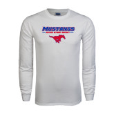 White Long Sleeve T Shirt-Stacked Athletic Mustangs Design