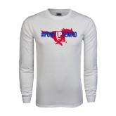 White Long Sleeve T Shirt-#PonyUpTempo Flat