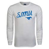 White Long Sleeve T Shirt-SMU Script