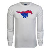 White Long Sleeve T Shirt-Dallas Skyline Logo