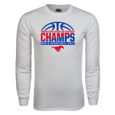 White Long Sleeve T Shirt-2017 AAC Regular Season Champs - Mens Basketball Half Ball