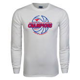 White Long Sleeve T Shirt-AAC Regular Season Champions 2017 Mens Basketball Lined Ball