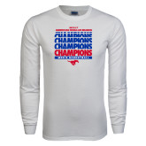 White Long Sleeve T Shirt-2017 AAC Regular Season Champions Repeating - Mens Basketball