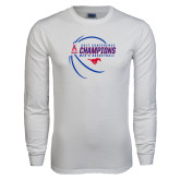 White Long Sleeve T Shirt-2017 AAC Conference Champions - Mens Basketball Contour Lines