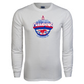 White Long Sleeve T Shirt-2017 AAC Conference Champions - Mens Basketball Arched Shadow
