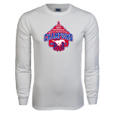 White Long Sleeve T Shirt-2017 AAC Conference Champions - Mens Basketball Arched Net