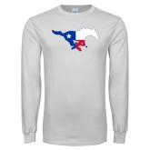 White Long Sleeve T Shirt-Texas Flag logo