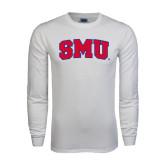 White Long Sleeve T Shirt-Block SMU