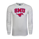 White Long Sleeve T Shirt-SMU w/Mustang