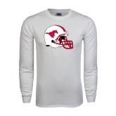 White Long Sleeve T Shirt-SMU Football Helmet