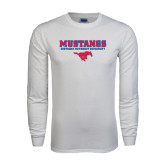 White Long Sleeve T Shirt-Stacked Mustangs w/ Pony