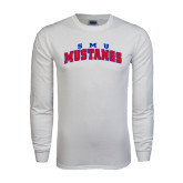 White Long Sleeve T Shirt-Arched SMU Mustangs