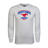 White Long Sleeve T Shirt-Arched Mustangs w/ Banner