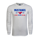 White Long Sleeve T Shirt-Stacked Mustangs Design