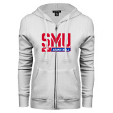 ENZA Ladies White Fleece Full Zip Hoodie-SMU Basketball Stencil