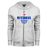ENZA Ladies White Fleece Full Zip Hoodie-Mustangs Basketball Net Icon