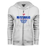 ENZA Ladies White Fleece Full Zip Hoodie-Mustangs Basketball Net Icon