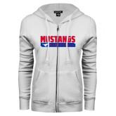 ENZA Ladies White Fleece Full Zip Hoodie-Mustangs Basketball Stacked Bar