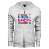 ENZA Ladies White Fleece Full Zip Hoodie-2017 AAC Regular Season Mens Basketball Champions Stacked
