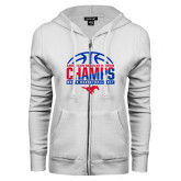 ENZA Ladies White Fleece Full Zip Hoodie-2017 AAC Regular Season Champs - Mens Basketball Half Ball