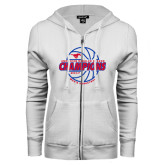 ENZA Ladies White Fleece Full Zip Hoodie-AAC Regular Season Champions 2017 Mens Basketball Lined Ball