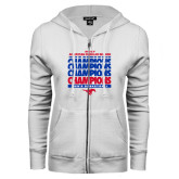ENZA Ladies White Fleece Full Zip Hoodie-2017 AAC Regular Season Champions Repeating - Mens Basketball