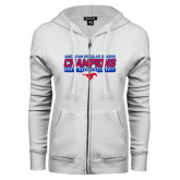 ENZA Ladies White Fleece Full Zip Hoodie-2017 AAC Regular Season Champions - Mens Basketball Stencil