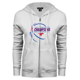 ENZA Ladies White Fleece Full Zip Hoodie-2017 AAC Conference Champions - Mens Basketball Contour Lines