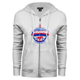 ENZA Ladies White Fleece Full Zip Hoodie-2017 AAC Conference Champions - Mens Basketball Arched Shadow