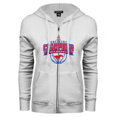 ENZA Ladies White Fleece Full Zip Hoodie-2017 AAC Conference Champions - Mens Basketball Arched Banner