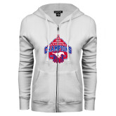 ENZA Ladies White Fleece Full Zip Hoodie-2017 AAC Conference Champions - Mens Basketball Arched Net