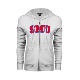 ENZA Ladies White Fleece Full Zip Hoodie-Block SMU