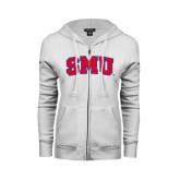 ENZA Ladies White Fleece Full Zip Hoodie-Block SMU