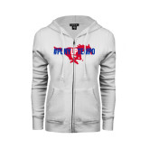 ENZA Ladies White Fleece Full Zip Hoodie-#PonyUpTempo Flat