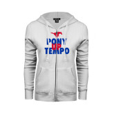 ENZA Ladies White Fleece Full Zip Hoodie-Pony Up Tempo Stacked