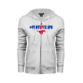 ENZA Ladies White Fleece Full Zip Hoodie-#PonyUpTempo Above Mustang