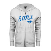 ENZA Ladies White Fleece Full Zip Hoodie-SMU Script