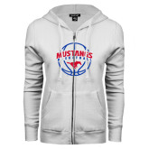 ENZA Ladies White Fleece Full Zip Hoodie-Mustangs Basketball Arched w/ Ball