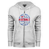 ENZA Ladies White Fleece Full Zip Hoodie-Mustangs Basketball Lined Ball