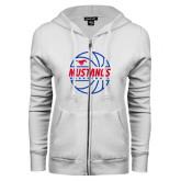 ENZA Ladies White Fleece Full Zip Hoodie-Mustangs Basketball Lined Ball