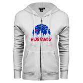 ENZA Ladies White Fleece Full Zip Hoodie-Mustangs Basketball Dallas Skyline