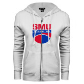 ENZA Ladies White Fleece Full Zip Hoodie-SMU Basketball Stacked on Ball