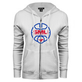 ENZA Ladies White Fleece Full Zip Hoodie-SMU Basketball Block Stacked in Circle