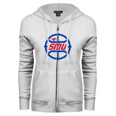 ENZA Ladies White Fleece Full Zip Hoodie-SMU Basketball Block in Circle
