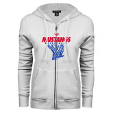 ENZA Ladies White Fleece Full Zip Hoodie-Mustangs Basketball Stacked w/ Net