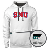 Contemporary Sofspun White Hoodie-Block SMU